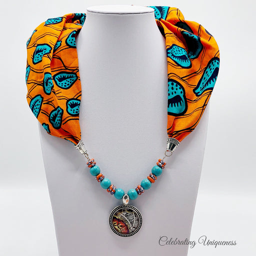 Orange Gemstone Beaded Scarf Necklace, Scarf jewelry - MeCelebratingU