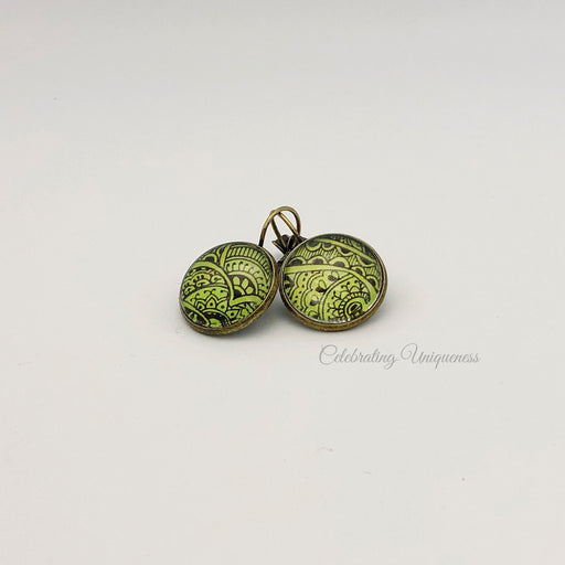 Boho Button Bronze Dangle Earrings, Nature inspired - MeCelebratingU