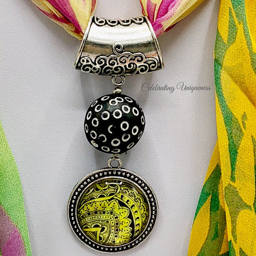 Silver Scarf Pendant with an African bead and nature inspired artwork, Scarf jewelry - MeCelebratingU