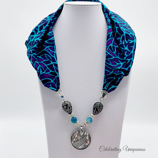 Blue and Purple Gemstone Scarf Necklace, Scarf jewelry - MeCelebratingU