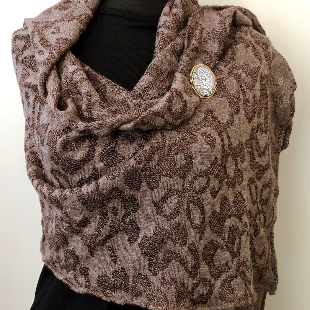 Lace Stole, Shoulder Wrap, In earthy brown and bronze - MeCelebratingU