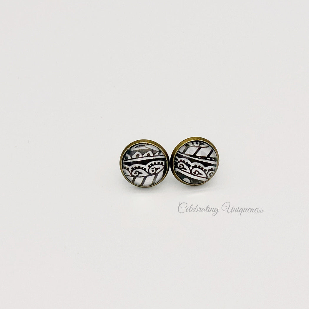 Bronze Ear Studs Earrings Peacock - MeCelebratingU