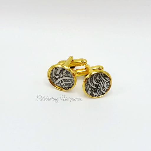 Gold Cufflinks, Sea inspired - MeCelebratingU