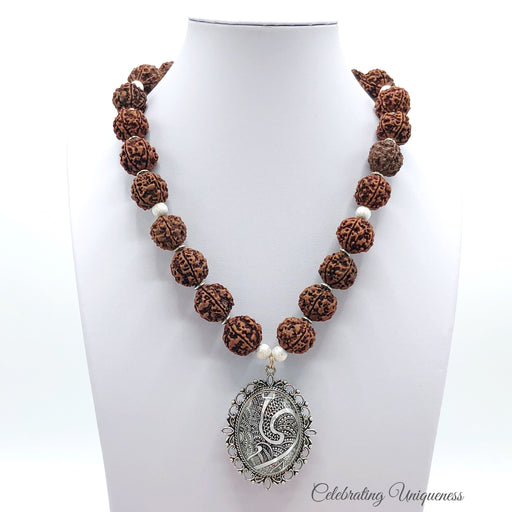 Healing Rudraksha Beaded Necklace, big double sided pendant - MeCelebratingU