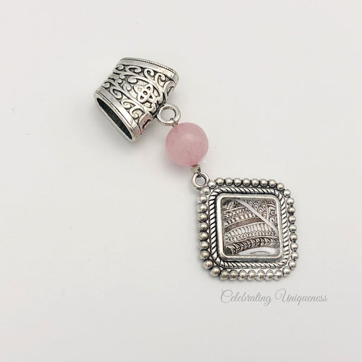 Silver Necklace Pendant, Pink Quartz - MeCelebratingU