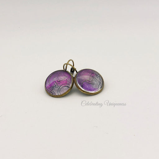 Bronze Dangle Earrings with Gray and Pink artwork - MeCelebratingU