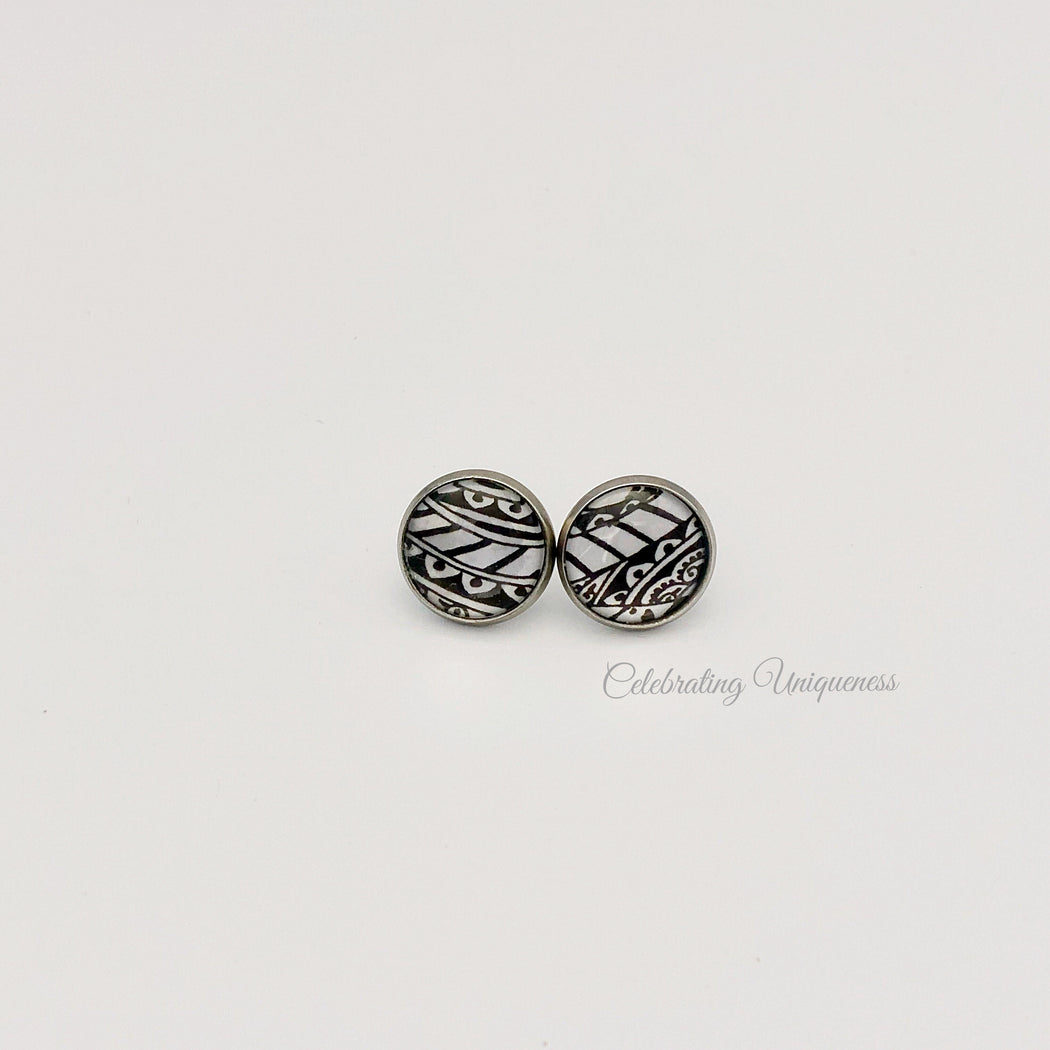 Silver Ear Studs, Unique gifts for her - MeCelebratingU