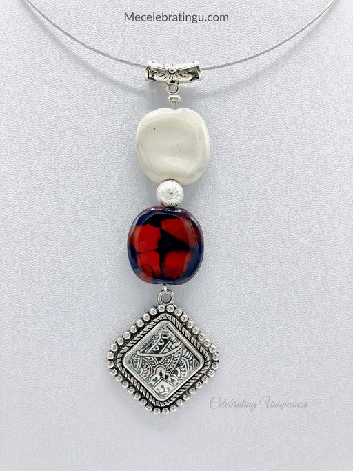 Pendant Necklace with handmade ceramic beads and hand painted pendant - MeCelebratingU