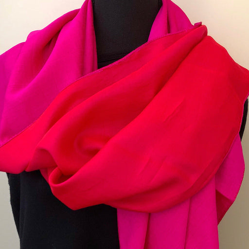 Large Silk Scarf square, Two-tone Red and Pink - MeCelebratingU