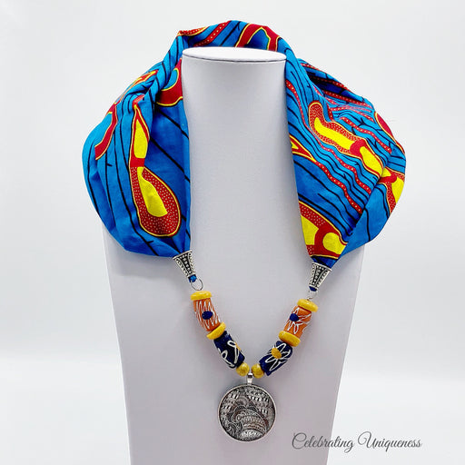 Peacock Scarf Necklace, Scarf jewelry, Statement jewelry - MeCelebratingU