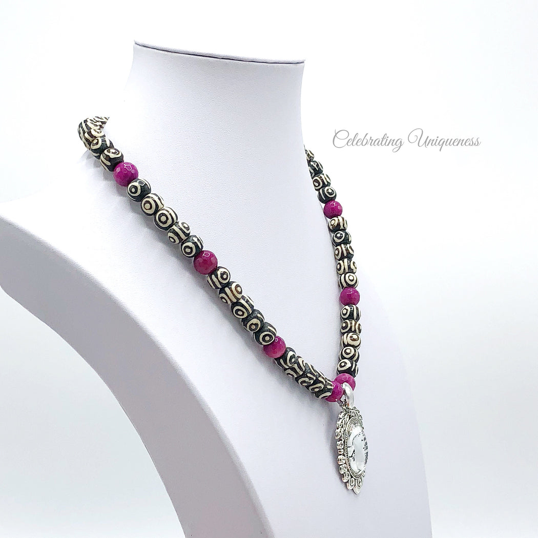 Beaded Gemstone Necklace in pink, black and white, Beaded Necklace - MeCelebratingU