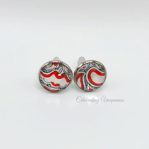 Silver Cufflinks, Black, White and Red artwork - MeCelebratingU