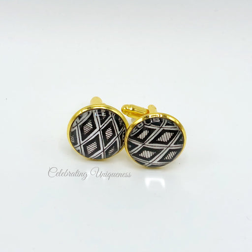 Gold Cufflinks with black diamond artwork - MeCelebratingU
