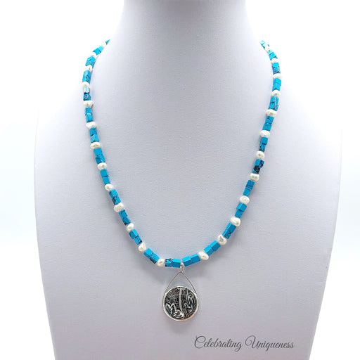 Turquoise Beaded Necklace with a delicate pendant - MeCelebratingU
