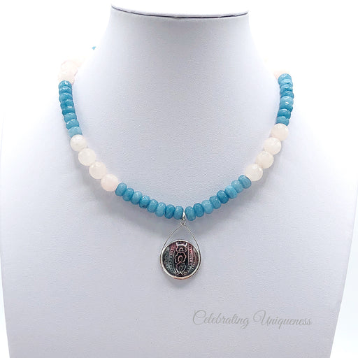 Gemstone Beaded Necklace with faceted Brazilian Turquoise, Quartz and a delicate pendant - MeCelebratingU