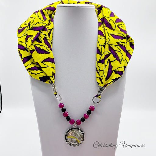 Yellow African Scarf Necklace, Scarf jewelry, Statement jewelry - MeCelebratingU