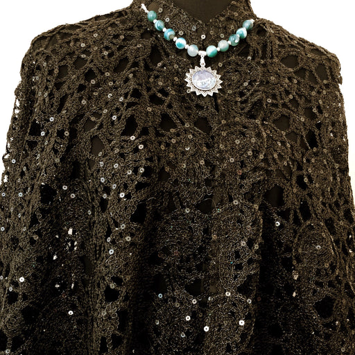 Black Sequin Lace Cape, Evening Wear, Party Wear - MeCelebratingU
