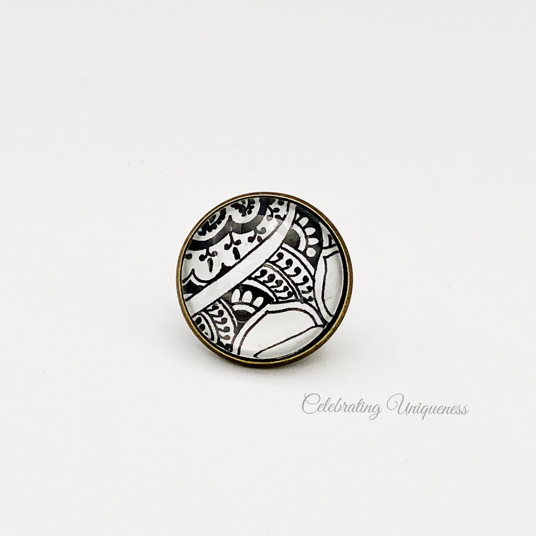 Bronze Detachable Button with intricate artwork - MeCelebratingU