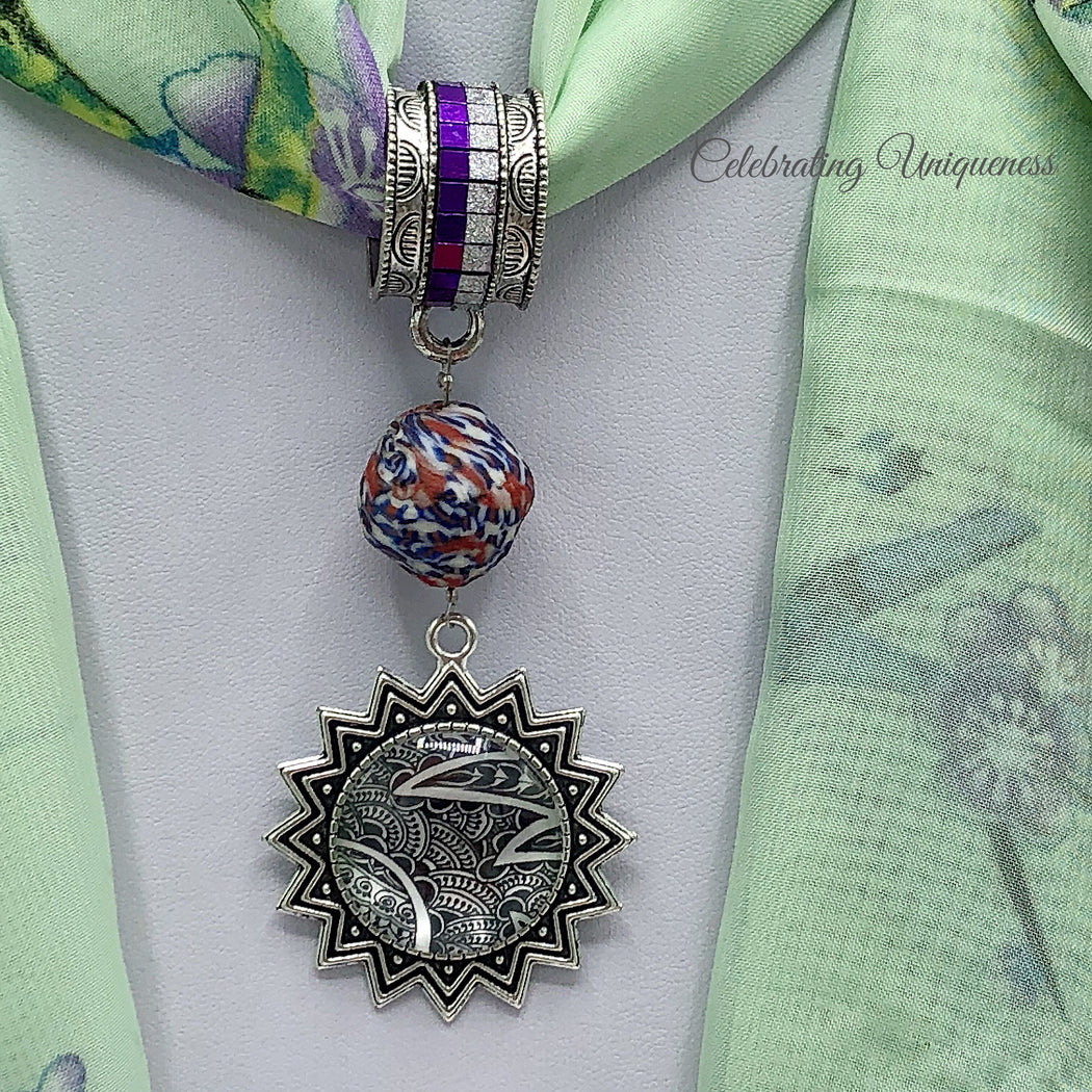 Silver Scarf Pendant with a handmade African bead and artwork pendant - MeCelebratingU