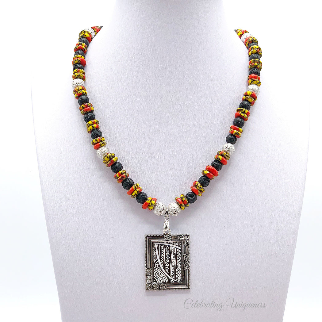 Beaded Necklace with rectangular wearable art, Chic and Modern - MeCelebratingU