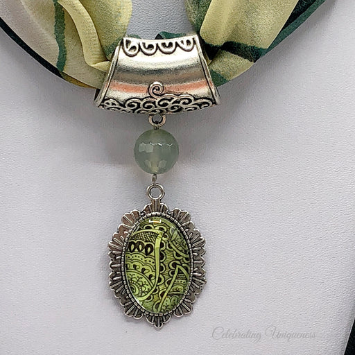 Silver Scarf Pendant with gemstone and green artwork pendant - MeCelebratingU