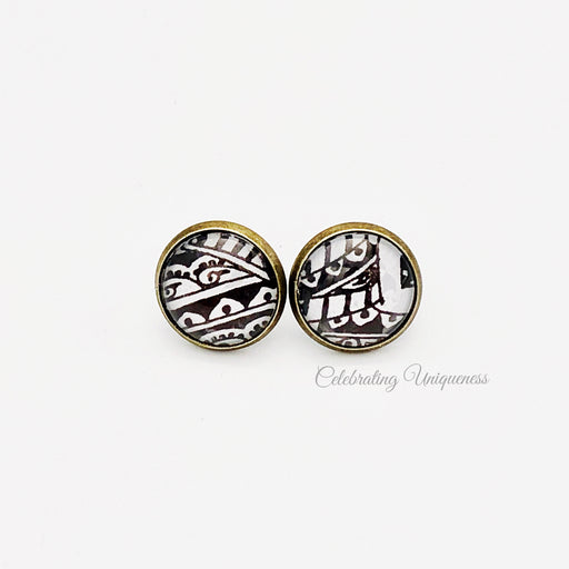 Bronze Ear Studs, hand painted treasure - MeCelebratingU