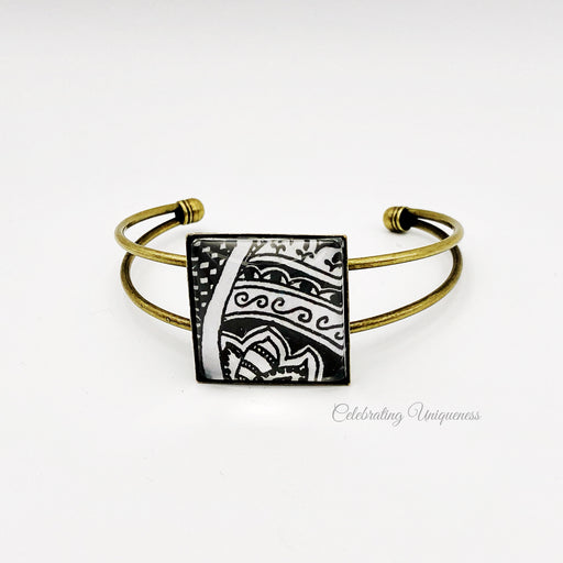 Bronze Bracelet with black and white artwork - MeCelebratingU