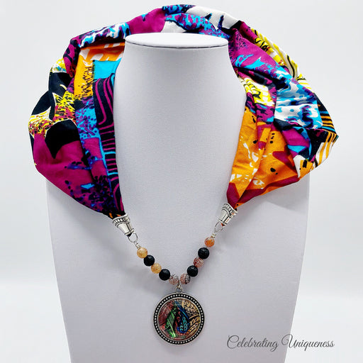 Multicoloured Scarf Necklace, Scarf Jewelry - MeCelebratingU