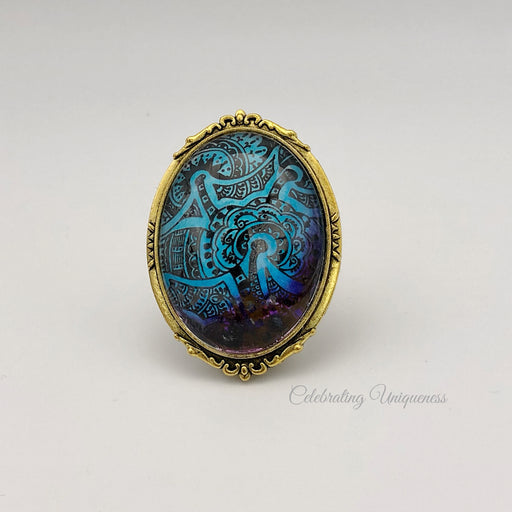 Gold Brooch Blue, a lovely combination - MeCelebratingU