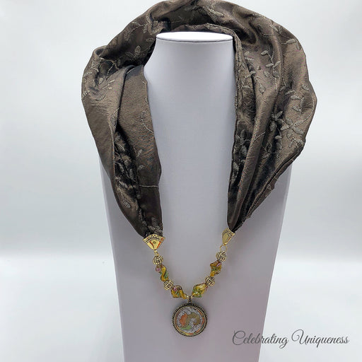 Brown Embroidered Silk Scarf Necklace - MeCelebratingU