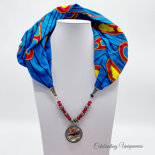 Peacock print Scarf Necklace, Scarf jewelry - MeCelebratingU