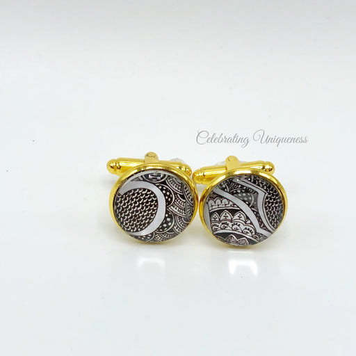 Unique Gold Cufflinks, Hand painted - MeCelebratingU