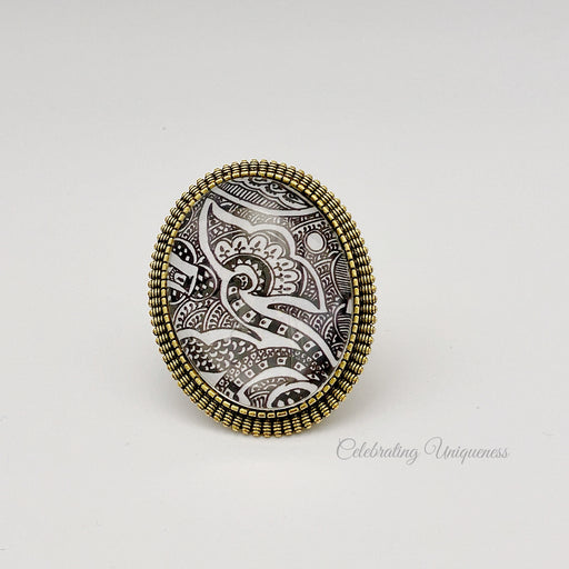 Gold Brooch with Black and White Artwork - MeCelebratingU