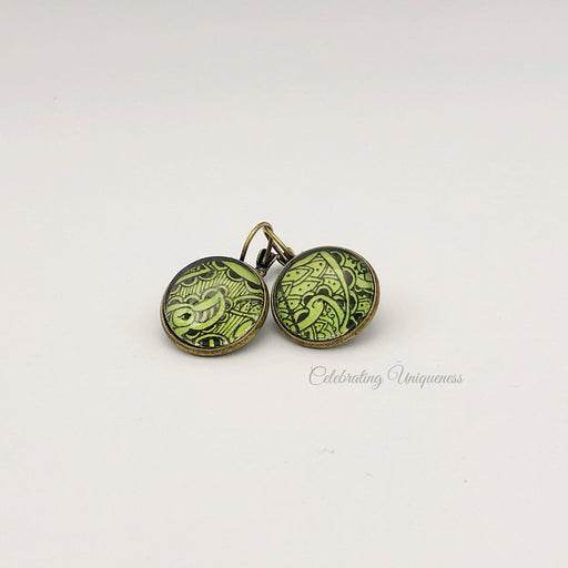 Bronze Dangle Earrings with Green artwork, Unique gifts for her - MeCelebratingU