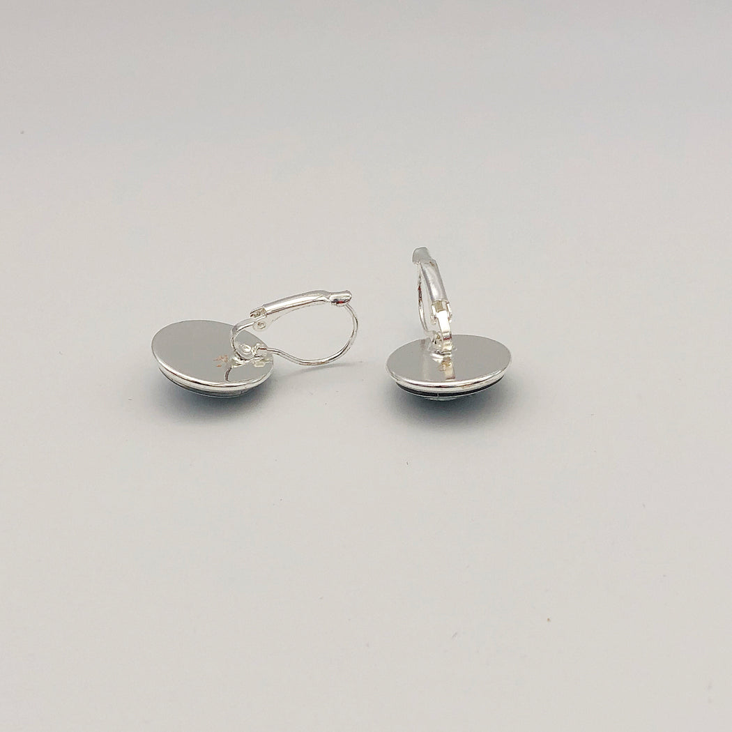 Silver Dangle Earrings, Button shaped - MeCelebratingU
