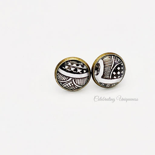 Bronze Ear Studs, Unique gifts for her - MeCelebratingU