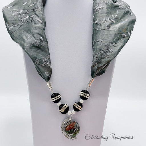 Steel Gray Silk Scarf Necklace, Scarf jewelry - MeCelebratingU