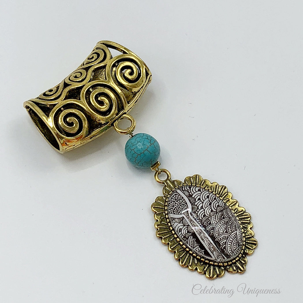 Gold Scarf Pendant with a turquoise bead and unique artwork, Scarf jewelry - MeCelebratingU