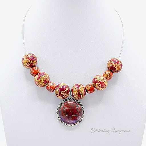 Beaded Necklace Wooden Beads, a statement in red - MeCelebratingU