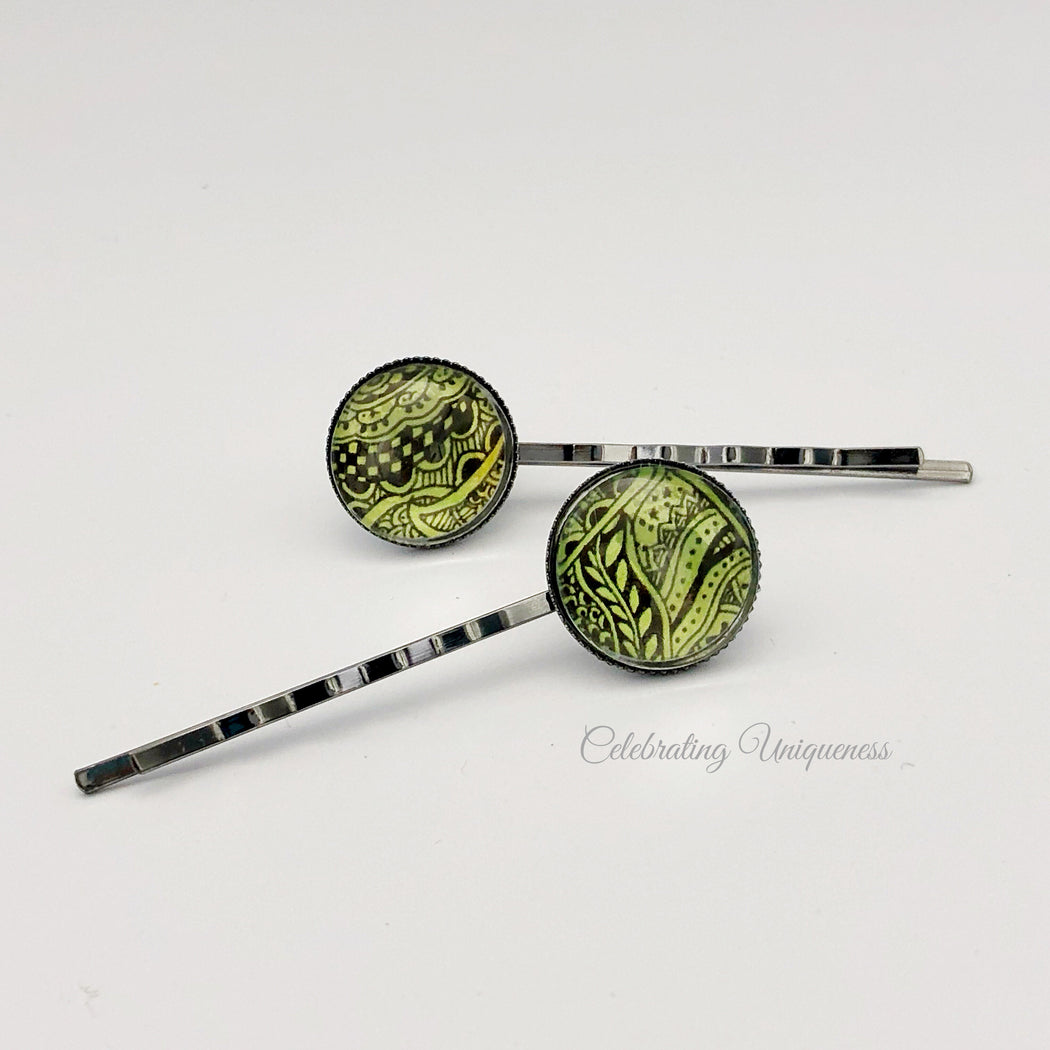 Hand Painted Hair Pins Forest Green - MeCelebratingU