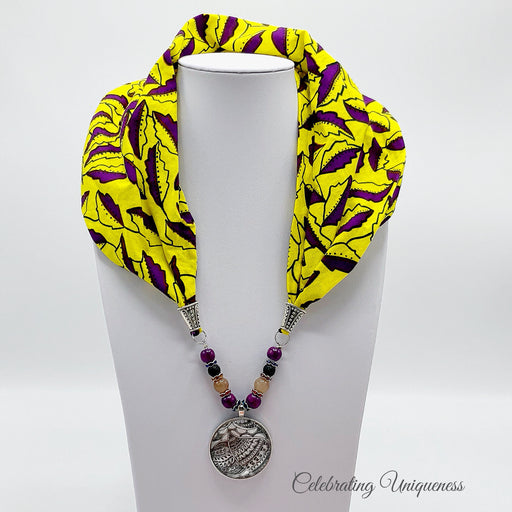 Yellow and Purple Gemstone Scarf Necklace, Scarf jewelry - MeCelebratingU