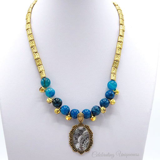 Blue Agate and Copper Beaded Necklace, Grace untold - MeCelebratingU