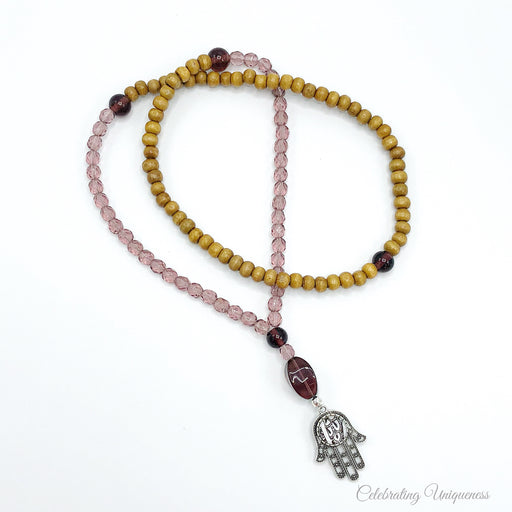 Prayer Beads, Mala Necklace in Camel and Mauve - MeCelebratingU