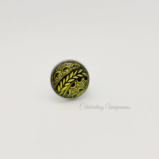 Silver Lapel pin, Silver Tie pin in green and black - MeCelebratingU