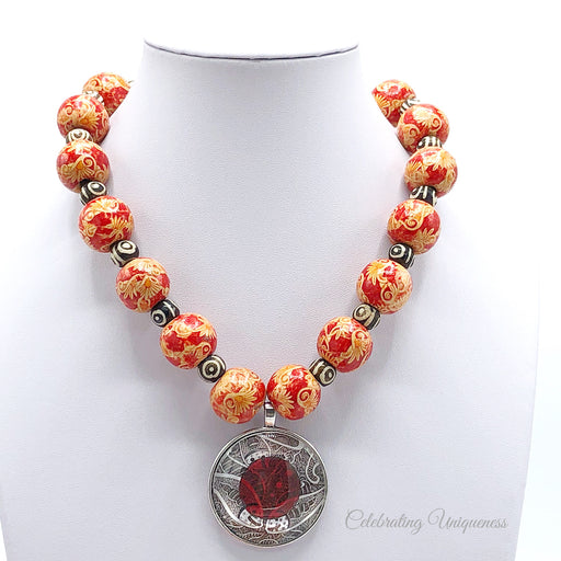Beaded Necklace, Wooden beads, One of a kind, Unique gifts for her - MeCelebratingU