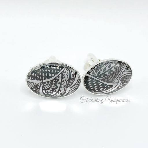 Silver Cufflinks Oval with intricate artwork - MeCelebratingU