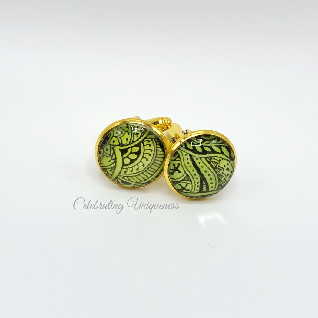 Gold Cufflinks - Green and Black - MeCelebratingU
