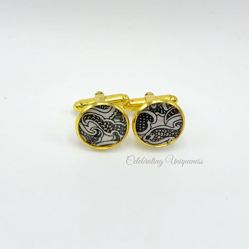 Gold Cufflinks, Black and White Artwork - MeCelebratingU