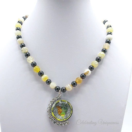 Gemstone Beaded Necklace with yellow Agate and black Hematite - MeCelebratingU