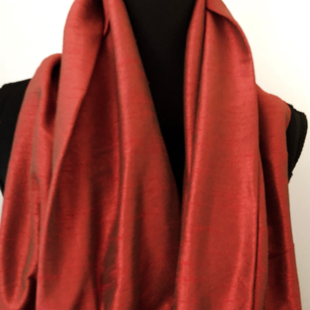 Silk Stole, Shoulder Wrap in Burnt Red - MeCelebratingU